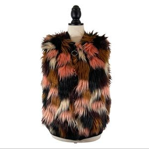 Thread & Supply Faux Fur Vest Pink Black Zip Front Sleeveless, Size S